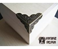 Декоративный уголок для шкатулок 24*34 мм, бронза, (упак.8 шт.)