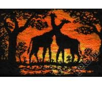 """Набор для вышивания коврика """"Жирафы на закате"""""""