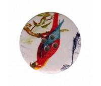 """Пуговица деревянная """"Красный попугай"""""""