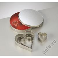 """Набор металлических формочек """"Сердечки"""", диаметр 11 см"""