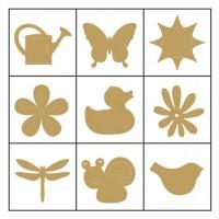 """Декоративные элементы из дерева в коробочке """"Цветы и животные"""""""
