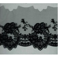 Вышивка на тюле, 160 мм, цвет черный