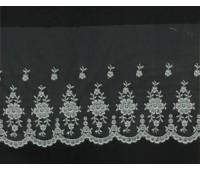 Вышивка на тюле, 110 мм, цвет серый
