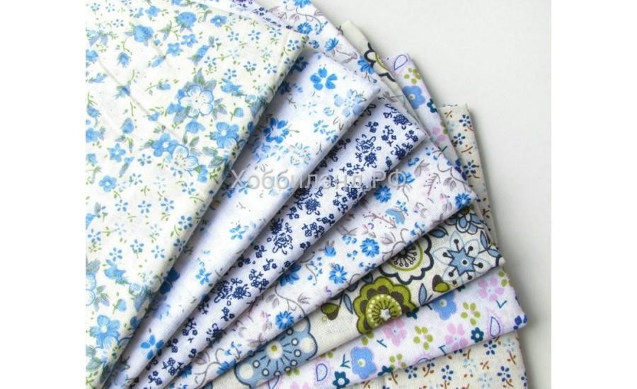 Набор из кусочков тканей 50*50 см, 7 шт, синее ассорти