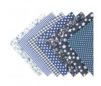 Набор из кусочков тканей 50*50 см, 7 шт, темно-синее ассорти