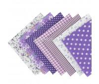 Набор из кусочков тканей 50*50см, 7 шт фиолетовое ассорти
