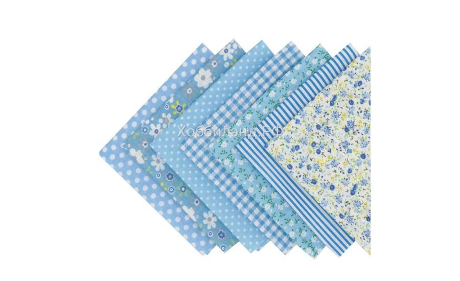 Набор из кусочков тканей 50*50 см, 7 шт, голубое ассорти