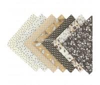 Набор из кусочков тканей 50*50 см, 7 шт, коричневое ассорти