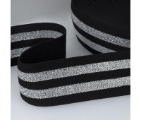 Резинка декоративная J046-5 см черный/серебро (44 м)