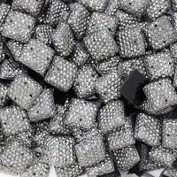 """Стразы """"зернистые"""" пришивные Квадрат 12*12 мм пластик темный никель (200 шт)"""