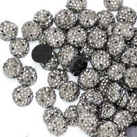 """Стразы """"зернистые"""" пришивные Круг 10 мм пластик темный никель (200 шт)"""