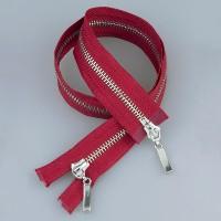 Молния металл 2-замка разъемная 65 см T5 (прямой) никель/красный (GCC148)