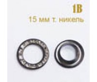 23 мм -1B темный никель/Crystal Люверсы со стразами (100 шт)