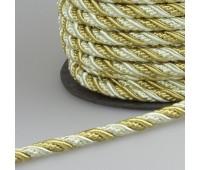 Шнур витой SH16-3 золото/белый (25 м)