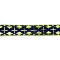 Тесьма H4606-3# синий/золото (50 ярд)