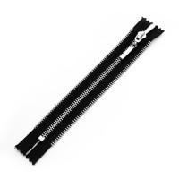 Молния металл декоративная (4 звена) неразъемная 18 см T5 никель на черном