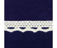 Кружево вязанное 0019B-QY молочный, 1.2 см, (50 ярд)