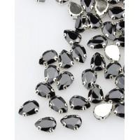 Стразы пришивные в оправе Капля 10*14 мм 011# черные (100 шт)