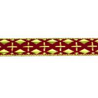 Тесьма H4606-1# красный/золото (50 ярд)