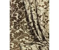 Ткань для штор блэкаут софт 2-х сторонний с рисунком WZGA1360-16 бежевый/темно-коричневый (25м± )