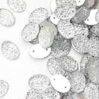 """Старзы """"зернистые"""" пришивные Овал 10*14 мм пластик белый (200 шт)"""