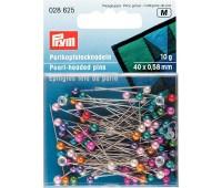 Булавки 028625 Prym с разноцветными пластиковыми головками 40х0,58 мм в коробке 10 г