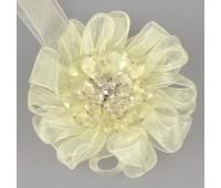 Клипса-магнит цветок-органза SM-H9-005 молочный (2 шт)