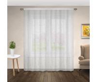 Готовая штора тюль лен (имитация) с рисунком вышивкой 5929-2.2701CM (310х270 см) серая/белая
