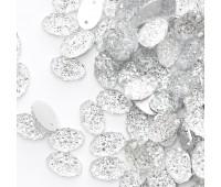 """Старзы """"зернистые"""" пришивные Овал 7*11 мм пластик белый (200 шт)"""