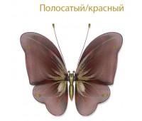 Украшение для штор бабочка средняя полосато-красная У2 (уп. 5 шт)
