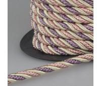 Шнур витой SH16-1 сиреневый/розовый/бежевый (50 м)