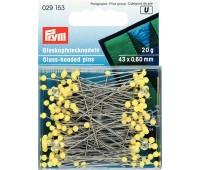 Булавки 029153 Prym термостойкие с желтыми стеклянными головками 43х0,6 мм в коробке 20 г