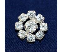 Пуговица со стразами LS6A серебро (10 шт.)