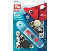 """Кнопки """"Anorak"""" Prym 390301 серебристый 15 мм (10 шт)"""