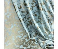 Ткань для штор блэкаут софт 2-х сторонний с рисунком WZGA1360-13 бирюзовый/коричневый (25 м±)