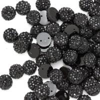 """Стразы """"зернистые"""" пришивные Круг 10 мм пластик черный (200 шт)"""