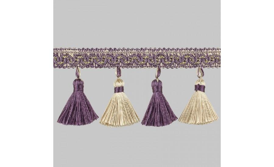 Бахрома для штор К02-13 фиолетовый/золотой (25 м)