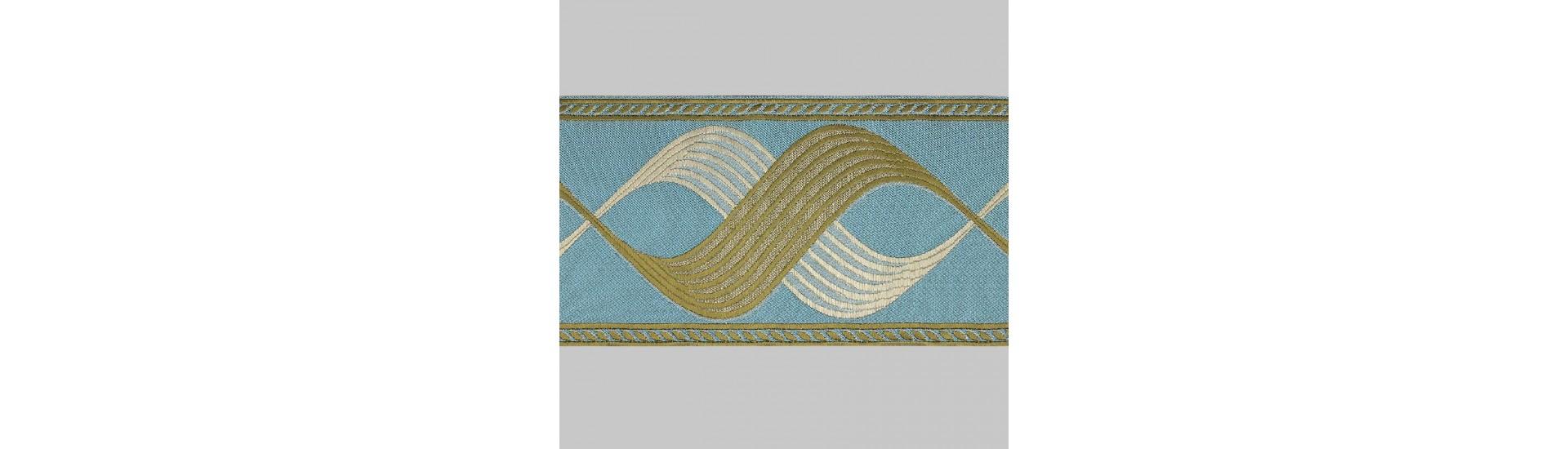 Бордюр для штор T1204-5 голубой/коричневый/бежевый ±12 см (25 м)