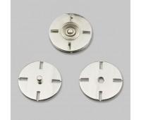 Кнопка пришивная декоративная нержавеющая металлическая HJ001 40L никель (24 шт)