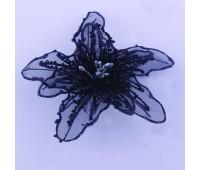 Прищепка для штор цветок черный большой JX101573-Н (уп. 6 шт)