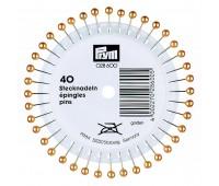 Булавки 028600 Prym с золотистыми пластиковыми головками 40х0,58 мм в розетке 40 шт