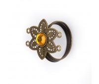 Кугель для штор со стразами Цветок HJH85489 бронза (4 шт)