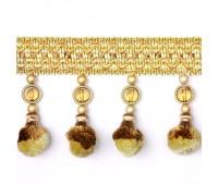 """Бахрома для штор с """"шариками"""" FYTF310027A/2 золото/коричневый (25 м)"""