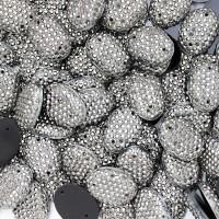 """Старзы """"зернистые"""" пришивные Овал 13*18 мм пластик темный никель (200 шт)"""