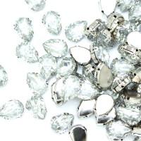 Стразы пришивные в оправе Капля 10*14 мм 008# crystal (100 шт)