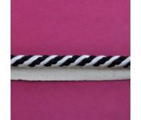 Кант шторный (искусственный шелк) SHK20-10 черный/белый (25 м)