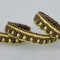 Сутаж отделочный M-1(HB79) коричневый/золото (19 м)