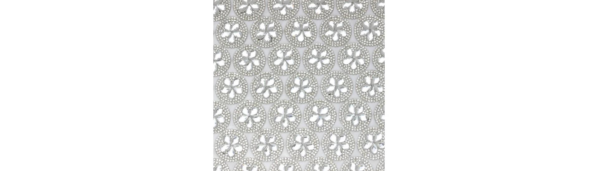 Стразы на листе 24х4см клеевые (круг диаметр 26мм) CF002 Crystal