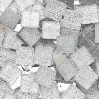 """Стразы """"зернистые"""" пришивные Квадрат 14*14 мм пластик белый (200 шт)"""