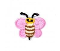 "Аппликация вышитая клеевая 953-1 ""Пчелка розовая"" (10 шт)"